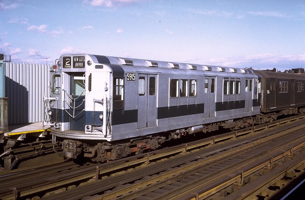 (233k, 1024x673)<br><b>Country:</b> United States<br><b>City:</b> New York<br><b>System:</b> New York City Transit<br><b>Line:</b> IRT White Plains Road Line<br><b>Location:</b> Intervale Avenue <br><b>Route:</b> 2<br><b>Car:</b> R-14 (American Car & Foundry, 1949) 5915 <br><b>Photo by:</b> Doug Grotjahn<br><b>Collection of:</b> Joe Testagrose<br><b>Date:</b> 12/20/1970<br><b>Viewed (this week/total):</b> 2 / 3210
