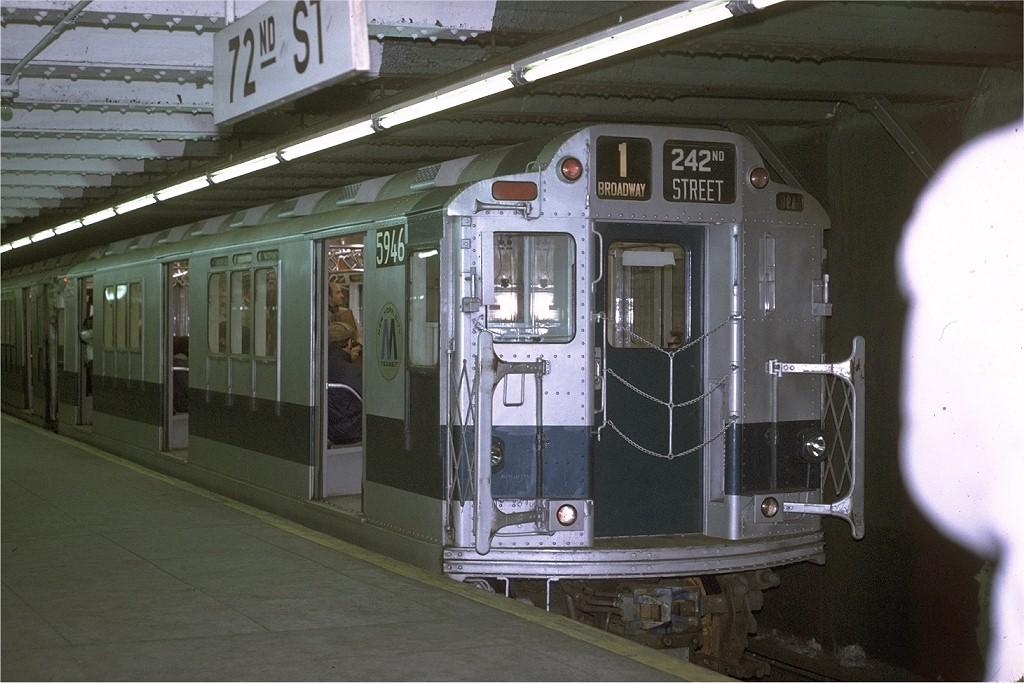 (183k, 1024x683)<br><b>Country:</b> United States<br><b>City:</b> New York<br><b>System:</b> New York City Transit<br><b>Line:</b> IRT West Side Line<br><b>Location:</b> 72nd Street <br><b>Route:</b> 1<br><b>Car:</b> R-14 (American Car & Foundry, 1949) 5946 <br><b>Photo by:</b> Joe Testagrose<br><b>Date:</b> 1/30/1971<br><b>Viewed (this week/total):</b> 1 / 3361
