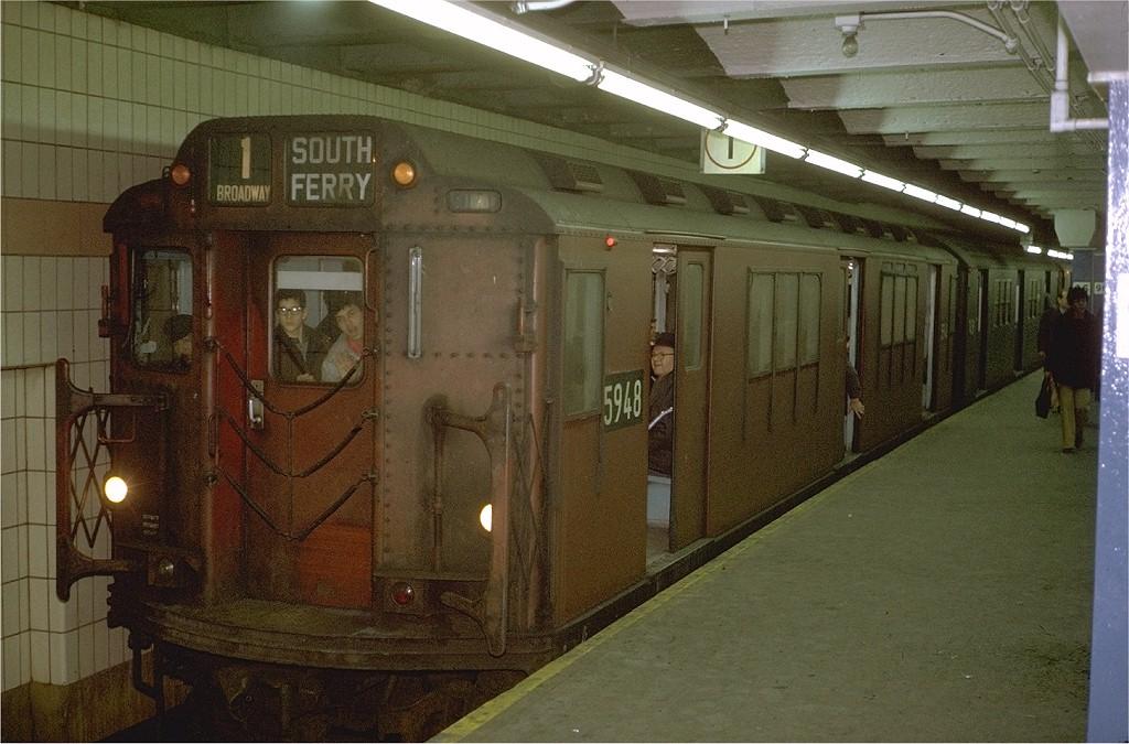 (200k, 1024x675)<br><b>Country:</b> United States<br><b>City:</b> New York<br><b>System:</b> New York City Transit<br><b>Line:</b> IRT West Side Line<br><b>Location:</b> 96th Street <br><b>Route:</b> 1<br><b>Car:</b> R-14 (American Car & Foundry, 1949) 5948 <br><b>Photo by:</b> Joe Testagrose<br><b>Date:</b> 1/3/1971<br><b>Viewed (this week/total):</b> 0 / 3716