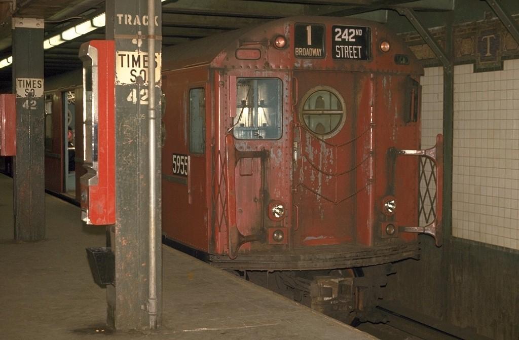 (160k, 1024x671)<br><b>Country:</b> United States<br><b>City:</b> New York<br><b>System:</b> New York City Transit<br><b>Line:</b> IRT West Side Line<br><b>Location:</b> Times Square/42nd Street <br><b>Route:</b> 1<br><b>Car:</b> R-15 (American Car & Foundry, 1950) 5955 <br><b>Photo by:</b> Joe Testagrose<br><b>Date:</b> 5/2/1970<br><b>Viewed (this week/total):</b> 1 / 5250