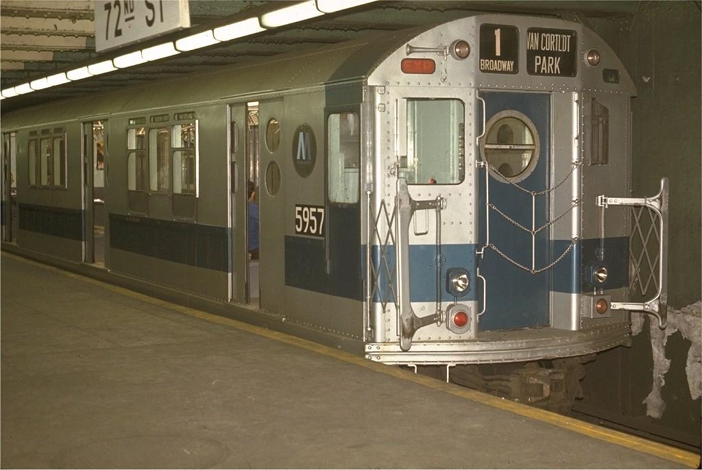 (180k, 1024x686)<br><b>Country:</b> United States<br><b>City:</b> New York<br><b>System:</b> New York City Transit<br><b>Line:</b> IRT West Side Line<br><b>Location:</b> 72nd Street <br><b>Route:</b> 1<br><b>Car:</b> R-15 (American Car & Foundry, 1950) 5957 <br><b>Photo by:</b> Joe Testagrose<br><b>Date:</b> 5/2/1970<br><b>Viewed (this week/total):</b> 9 / 3310