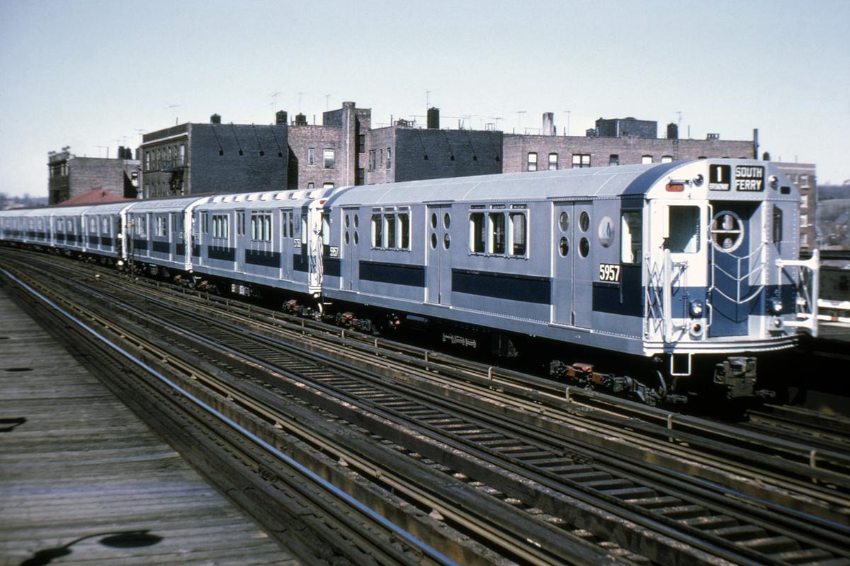 (207k, 1024x672)<br><b>Country:</b> United States<br><b>City:</b> New York<br><b>System:</b> New York City Transit<br><b>Line:</b> IRT West Side Line<br><b>Location:</b> 238th Street <br><b>Route:</b> 1<br><b>Car:</b> R-15 (American Car & Foundry, 1950) 5957 <br><b>Photo by:</b> Doug Grotjahn<br><b>Collection of:</b> Joe Testagrose<br><b>Date:</b> 4/12/1970<br><b>Viewed (this week/total):</b> 5 / 6826