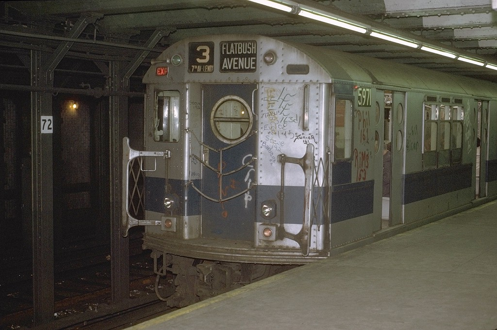 (195k, 1024x681)<br><b>Country:</b> United States<br><b>City:</b> New York<br><b>System:</b> New York City Transit<br><b>Line:</b> IRT West Side Line<br><b>Location:</b> 72nd Street <br><b>Route:</b> 1<br><b>Car:</b> R-15 (American Car & Foundry, 1950) 5971 <br><b>Photo by:</b> Joe Testagrose<br><b>Date:</b> 5/22/1972<br><b>Viewed (this week/total):</b> 0 / 4372