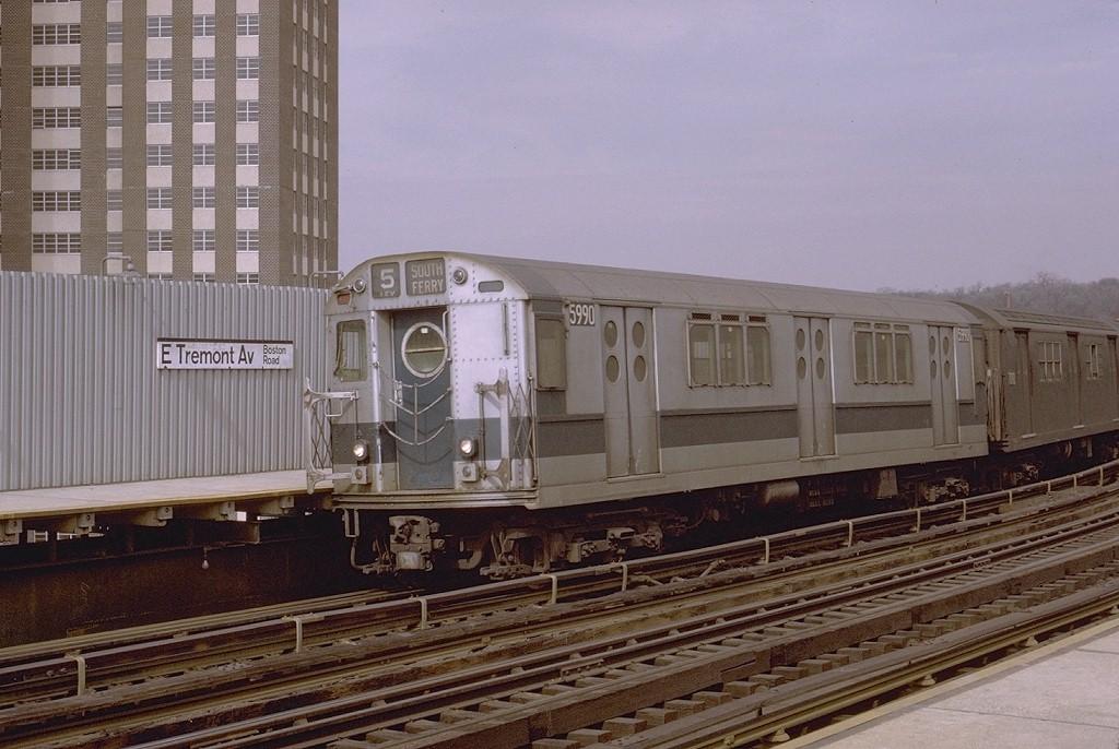 (192k, 1024x686)<br><b>Country:</b> United States<br><b>City:</b> New York<br><b>System:</b> New York City Transit<br><b>Line:</b> IRT White Plains Road Line<br><b>Location:</b> West Farms Sq./East Tremont Ave./177th St. <br><b>Route:</b> 5<br><b>Car:</b> R-15 (American Car & Foundry, 1950) 5990 <br><b>Photo by:</b> Joe Testagrose<br><b>Date:</b> 3/28/1971<br><b>Viewed (this week/total):</b> 0 / 3371