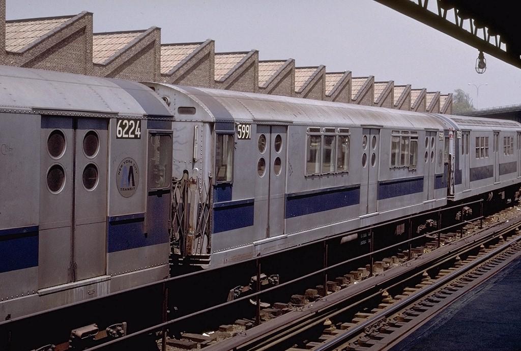 (225k, 1024x690)<br><b>Country:</b> United States<br><b>City:</b> New York<br><b>System:</b> New York City Transit<br><b>Location:</b> East 180th Street Yard<br><b>Car:</b> R-15 (American Car & Foundry, 1950) 5991 <br><b>Photo by:</b> Joe Testagrose<br><b>Date:</b> 5/6/1972<br><b>Viewed (this week/total):</b> 6 / 2971
