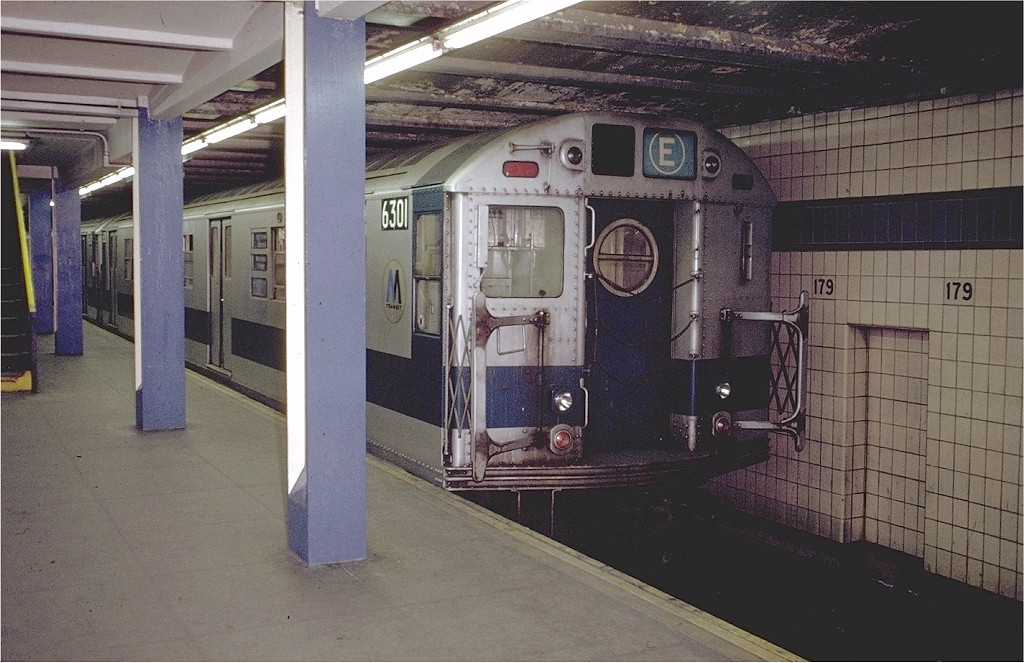(200k, 1024x663)<br><b>Country:</b> United States<br><b>City:</b> New York<br><b>System:</b> New York City Transit<br><b>Line:</b> IND Queens Boulevard Line<br><b>Location:</b> 179th Street <br><b>Route:</b> E<br><b>Car:</b> R-16 (American Car & Foundry, 1955) 6301 <br><b>Photo by:</b> Doug Grotjahn<br><b>Collection of:</b> Joe Testagrose<br><b>Date:</b> 12/4/1971<br><b>Viewed (this week/total):</b> 4 / 6152
