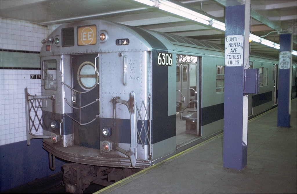 (173k, 1024x672)<br><b>Country:</b> United States<br><b>City:</b> New York<br><b>System:</b> New York City Transit<br><b>Line:</b> IND Queens Boulevard Line<br><b>Location:</b> 71st/Continental Aves./Forest Hills <br><b>Route:</b> EE<br><b>Car:</b> R-16 (American Car & Foundry, 1955) 6306 <br><b>Photo by:</b> Doug Grotjahn<br><b>Collection of:</b> Joe Testagrose<br><b>Date:</b> 7/27/1972<br><b>Viewed (this week/total):</b> 7 / 5938