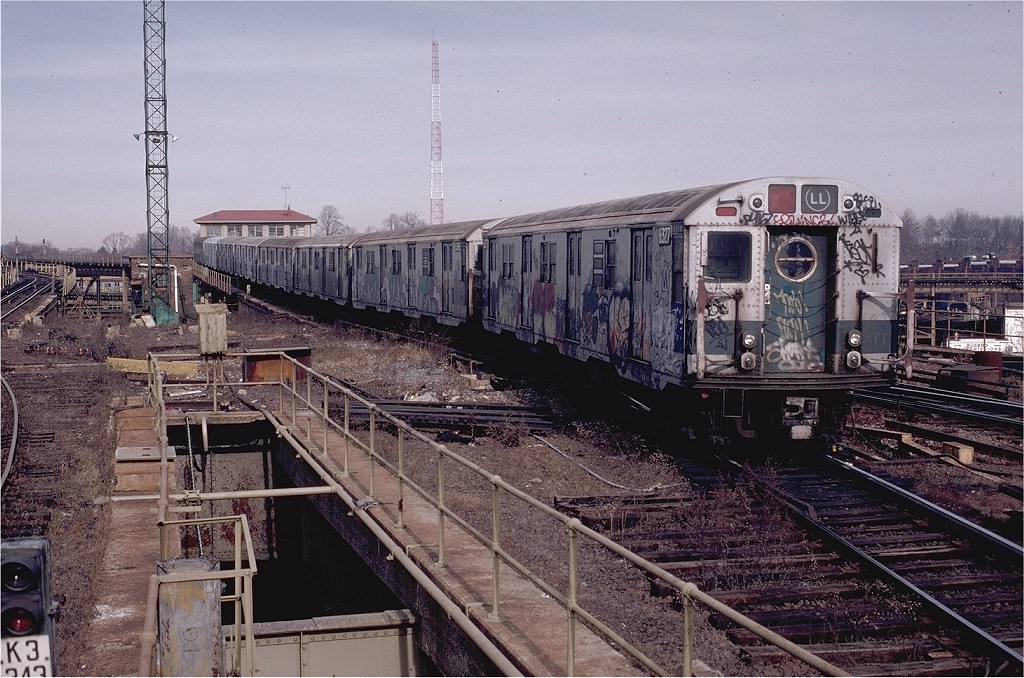 (260k, 1024x678)<br><b>Country:</b> United States<br><b>City:</b> New York<br><b>System:</b> New York City Transit<br><b>Line:</b> BMT Canarsie Line<br><b>Location:</b> Atlantic Avenue <br><b>Route:</b> LL<br><b>Car:</b> R-16 (American Car & Foundry, 1955) 6327 <br><b>Photo by:</b> Joe Testagrose<br><b>Date:</b> 11/23/1980<br><b>Viewed (this week/total):</b> 2 / 6445
