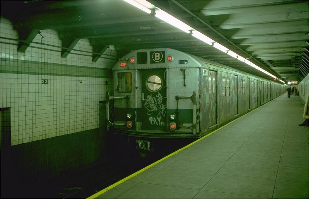 (161k, 1024x661)<br><b>Country:</b> United States<br><b>City:</b> New York<br><b>System:</b> New York City Transit<br><b>Line:</b> IND 6th Avenue Line<br><b>Location:</b> 23rd Street <br><b>Route:</b> B<br><b>Car:</b> R-16 (American Car & Foundry, 1955) 6330 <br><b>Photo by:</b> Joe Testagrose<br><b>Date:</b> 12/27/1976<br><b>Viewed (this week/total):</b> 4 / 5808