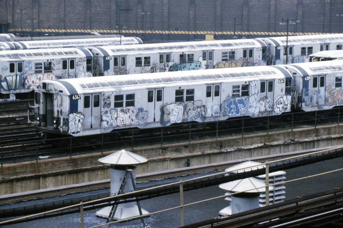 (493k, 1024x683)<br><b>Country:</b> United States<br><b>City:</b> New York<br><b>System:</b> New York City Transit<br><b>Location:</b> East New York Yard/Shops<br><b>Car:</b> R-16 (American Car & Foundry, 1955) 6347 <br><b>Photo by:</b> Steve Hoskins<br><b>Collection of:</b> David Pirmann<br><b>Date:</b> 8/1979<br><b>Viewed (this week/total):</b> 4 / 7857
