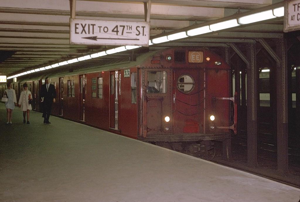 (223k, 1024x690)<br><b>Country:</b> United States<br><b>City:</b> New York<br><b>System:</b> New York City Transit<br><b>Line:</b> BMT Broadway Line<br><b>Location:</b> 49th Street <br><b>Route:</b> EE<br><b>Car:</b> R-16 (American Car & Foundry, 1955) 6363 <br><b>Photo by:</b> Joe Testagrose<br><b>Date:</b> 6/16/1970<br><b>Viewed (this week/total):</b> 10 / 5694