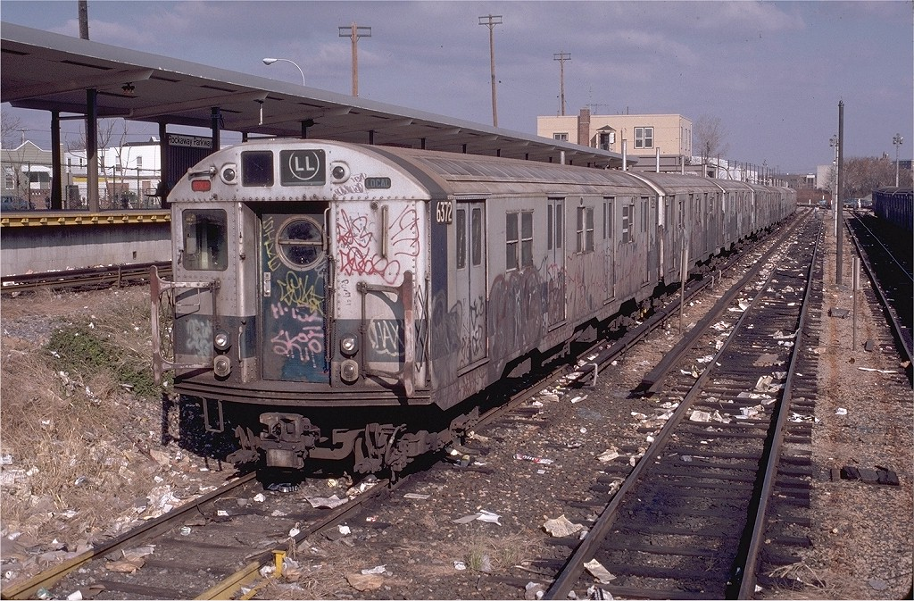 (286k, 1024x673)<br><b>Country:</b> United States<br><b>City:</b> New York<br><b>System:</b> New York City Transit<br><b>Location:</b> Rockaway Parkway (Canarsie) Yard<br><b>Car:</b> R-16 (American Car & Foundry, 1955) 6372 <br><b>Photo by:</b> Doug Grotjahn<br><b>Collection of:</b> Joe Testagrose<br><b>Date:</b> 11/22/1980<br><b>Viewed (this week/total):</b> 2 / 6552