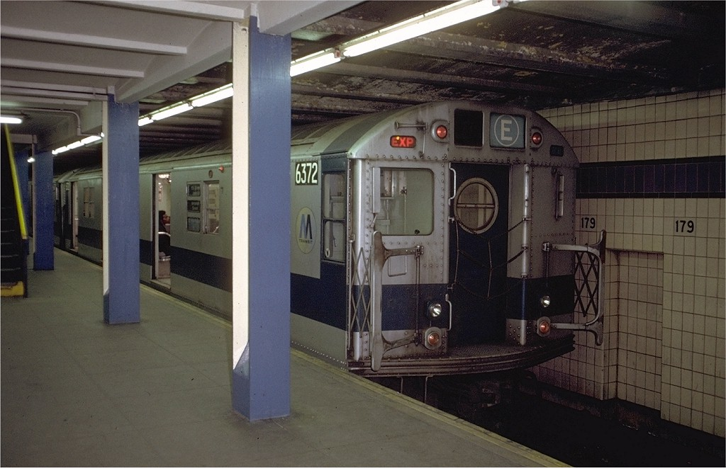 (173k, 1024x661)<br><b>Country:</b> United States<br><b>City:</b> New York<br><b>System:</b> New York City Transit<br><b>Line:</b> IND Queens Boulevard Line<br><b>Location:</b> 179th Street <br><b>Route:</b> E<br><b>Car:</b> R-16 (American Car & Foundry, 1955) 6372 <br><b>Photo by:</b> Doug Grotjahn<br><b>Collection of:</b> Joe Testagrose<br><b>Date:</b> 12/4/1971<br><b>Viewed (this week/total):</b> 0 / 3987