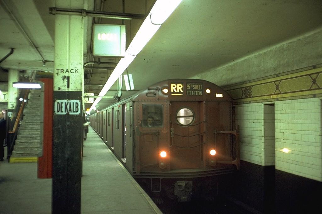 (164k, 1024x681)<br><b>Country:</b> United States<br><b>City:</b> New York<br><b>System:</b> New York City Transit<br><b>Location:</b> DeKalb Avenue<br><b>Route:</b> RR<br><b>Car:</b> R-16 (American Car & Foundry, 1955) 6381 <br><b>Photo by:</b> Doug Grotjahn<br><b>Collection of:</b> Joe Testagrose<br><b>Date:</b> 4/15/1969<br><b>Viewed (this week/total):</b> 1 / 3711