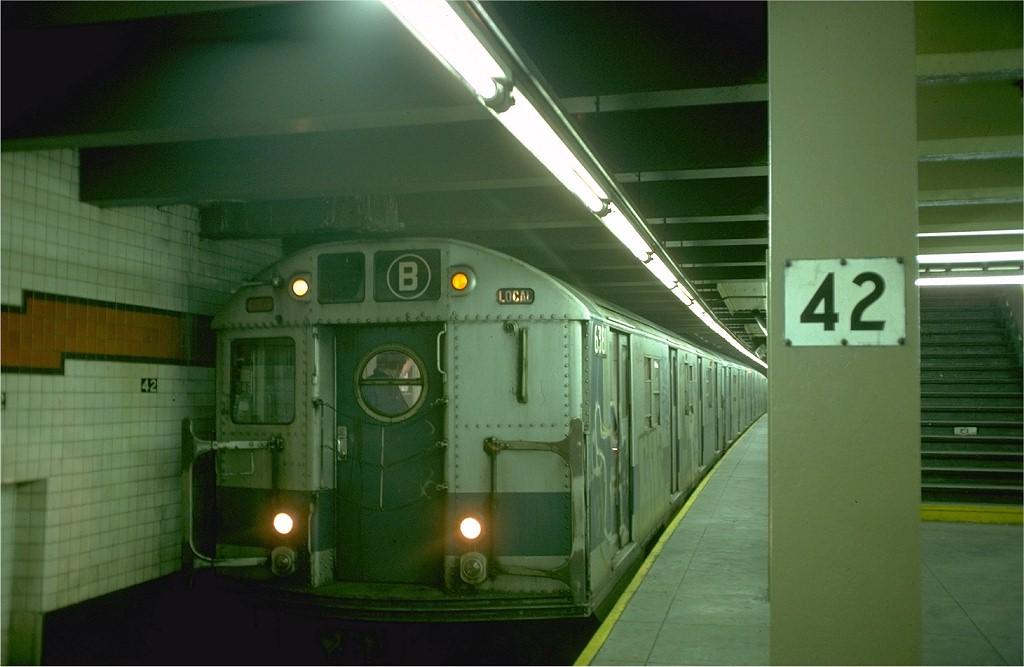 (141k, 1024x667)<br><b>Country:</b> United States<br><b>City:</b> New York<br><b>System:</b> New York City Transit<br><b>Line:</b> IND 6th Avenue Line<br><b>Location:</b> 42nd Street/Bryant Park <br><b>Route:</b> B<br><b>Car:</b> R-16 (American Car & Foundry, 1955) 6381 <br><b>Photo by:</b> Doug Grotjahn<br><b>Collection of:</b> Joe Testagrose<br><b>Viewed (this week/total):</b> 0 / 4305