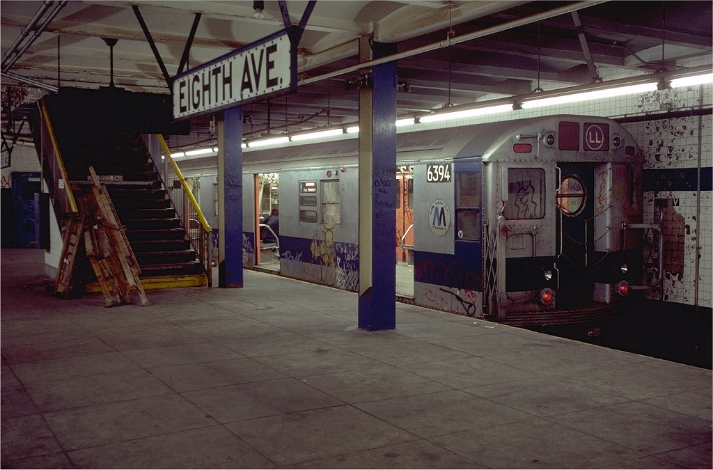 (187k, 1024x675)<br><b>Country:</b> United States<br><b>City:</b> New York<br><b>System:</b> New York City Transit<br><b>Line:</b> BMT Canarsie Line<br><b>Location:</b> 8th Avenue <br><b>Route:</b> LL<br><b>Car:</b> R-16 (American Car & Foundry, 1955) 6394 <br><b>Photo by:</b> Doug Grotjahn<br><b>Collection of:</b> Joe Testagrose<br><b>Date:</b> 11/14/1980<br><b>Viewed (this week/total):</b> 9 / 6156