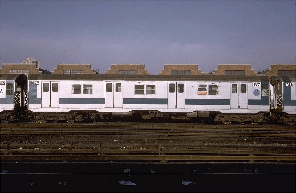 (161k, 1024x669)<br><b>Country:</b> United States<br><b>City:</b> New York<br><b>System:</b> New York City Transit<br><b>Location:</b> Jamaica Yard/Shops<br><b>Car:</b> R-16 (American Car & Foundry, 1955) 6394 <br><b>Photo by:</b> Steve Zabel<br><b>Collection of:</b> Joe Testagrose<br><b>Date:</b> 2/17/1971<br><b>Viewed (this week/total):</b> 2 / 4584