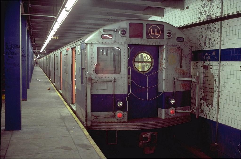 (182k, 1024x677)<br><b>Country:</b> United States<br><b>City:</b> New York<br><b>System:</b> New York City Transit<br><b>Line:</b> BMT Canarsie Line<br><b>Location:</b> 8th Avenue <br><b>Route:</b> LL<br><b>Car:</b> R-16 (American Car & Foundry, 1955) 6394 <br><b>Photo by:</b> Doug Grotjahn<br><b>Collection of:</b> Joe Testagrose<br><b>Date:</b> 11/14/1980<br><b>Viewed (this week/total):</b> 1 / 4175