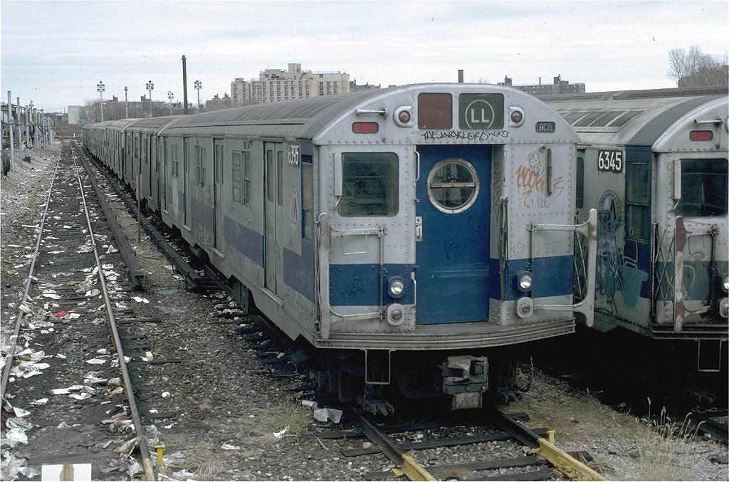 (265k, 1024x677)<br><b>Country:</b> United States<br><b>City:</b> New York<br><b>System:</b> New York City Transit<br><b>Location:</b> Rockaway Parkway (Canarsie) Yard<br><b>Car:</b> R-16 (American Car & Foundry, 1955) 6395 <br><b>Photo by:</b> Doug Grotjahn<br><b>Collection of:</b> Joe Testagrose<br><b>Date:</b> 11/27/1980<br><b>Viewed (this week/total):</b> 1 / 5048