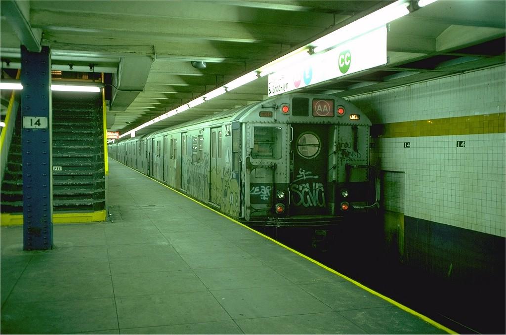 (195k, 1024x678)<br><b>Country:</b> United States<br><b>City:</b> New York<br><b>System:</b> New York City Transit<br><b>Line:</b> IND 8th Avenue Line<br><b>Location:</b> 14th Street <br><b>Route:</b> AA<br><b>Car:</b> R-16 (American Car & Foundry, 1955) 6397 <br><b>Photo by:</b> Doug Grotjahn<br><b>Collection of:</b> Joe Testagrose<br><b>Date:</b> 10/31/1976<br><b>Viewed (this week/total):</b> 6 / 5459