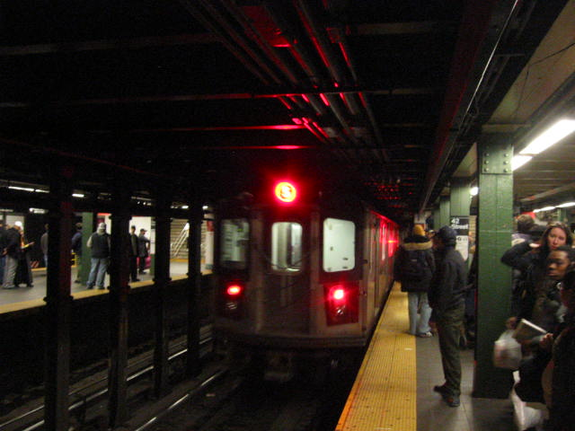 (52k, 640x480)<br><b>Country:</b> United States<br><b>City:</b> New York<br><b>System:</b> New York City Transit<br><b>Line:</b> IRT West Side Line<br><b>Location:</b> Times Square/42nd Street <br><b>Route:</b> 5<br><b>Car:</b> R-142 (Primary Order, Bombardier, 1999-2002)  6841 <br><b>Photo by:</b> Oren H.<br><b>Date:</b> 1/21/2006<br><b>Notes:</b> 5 train rerouted down the West Side.<br><b>Viewed (this week/total):</b> 1 / 5364
