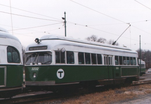 (36k, 520x359)<br><b>Country:</b> United States<br><b>City:</b> Boston, MA<br><b>System:</b> MBTA<br><b>Line:</b> MBTA Mattapan-Ashmont Line<br><b>Location:</b> Mattapan <br><b>Car:</b> MBTA/BSRy PCC Wartime (Pullman-Standard, 1945-46)  3232 <br><b>Photo by:</b> Jason R. DeCesare<br><b>Date:</b> 1996<br><b>Viewed (this week/total):</b> 0 / 4874