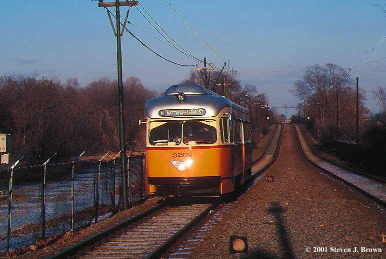 (80k, 772x519)<br><b>Country:</b> United States<br><b>City:</b> Boston, MA<br><b>System:</b> MBTA<br><b>Line:</b> MBTA Mattapan-Ashmont Line<br><b>Location:</b> Valley Road <br><b>Car:</b> MBTA/BSRy PCC Wartime (Pullman-Standard, 1945-46)  3268 <br><b>Photo by:</b> Steven J. Brown<br><b>Date:</b> 1/4/2001<br><b>Viewed (this week/total):</b> 0 / 5087