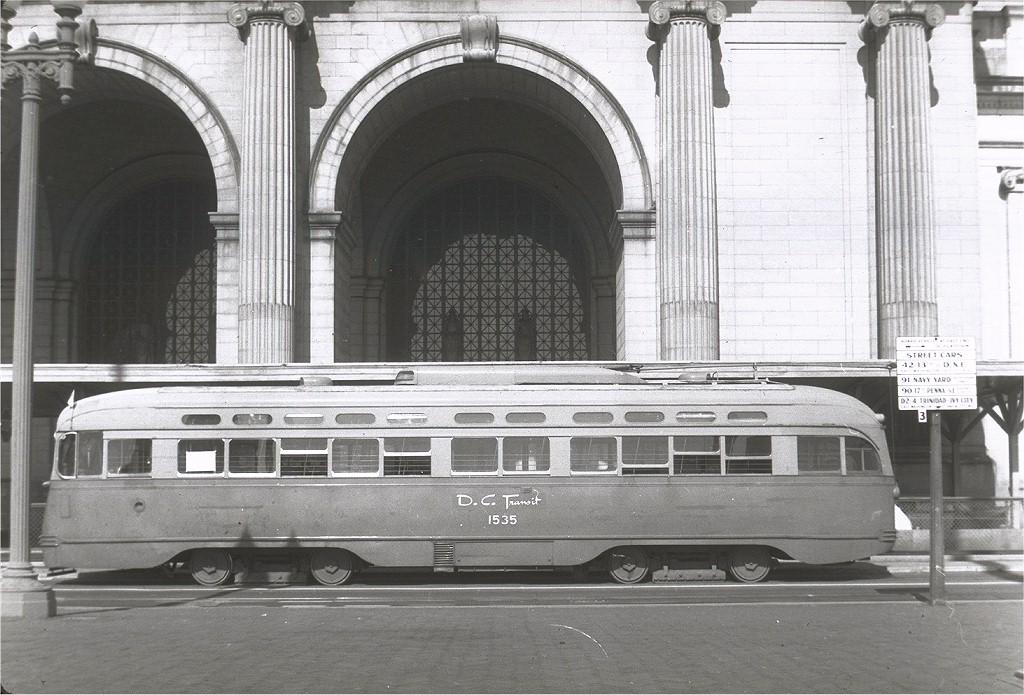 (212k, 1024x695)<br><b>Country:</b> United States<br><b>City:</b> Washington, D.C.<br><b>System:</b> D.C. Transit<br><b>Location:</b> Union Station<br><b>Route:</b> Rt.20<br><b>Car:</b> PCC 1535 <br><b>Collection of:</b> Joe Testagrose<br><b>Viewed (this week/total):</b> 0 / 1275