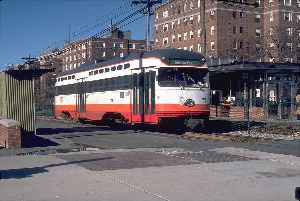 (245k, 1024x687)<br><b>Country:</b> United States<br><b>City:</b> Cleveland, OH<br><b>System:</b> GCRTA (or predecessor)<br><b>Line:</b> GCRTA Blue/Green Line<br><b>Location:</b> Shaker Square <br><b>Car:</b> Shaker Heights PCC (Pullman-Standard, 1947)  75 <br><b>Photo by:</b> Bill Madden<br><b>Collection of:</b> Joe Testagrose<br><b>Date:</b> 11/16/1980<br><b>Viewed (this week/total):</b> 2 / 14159