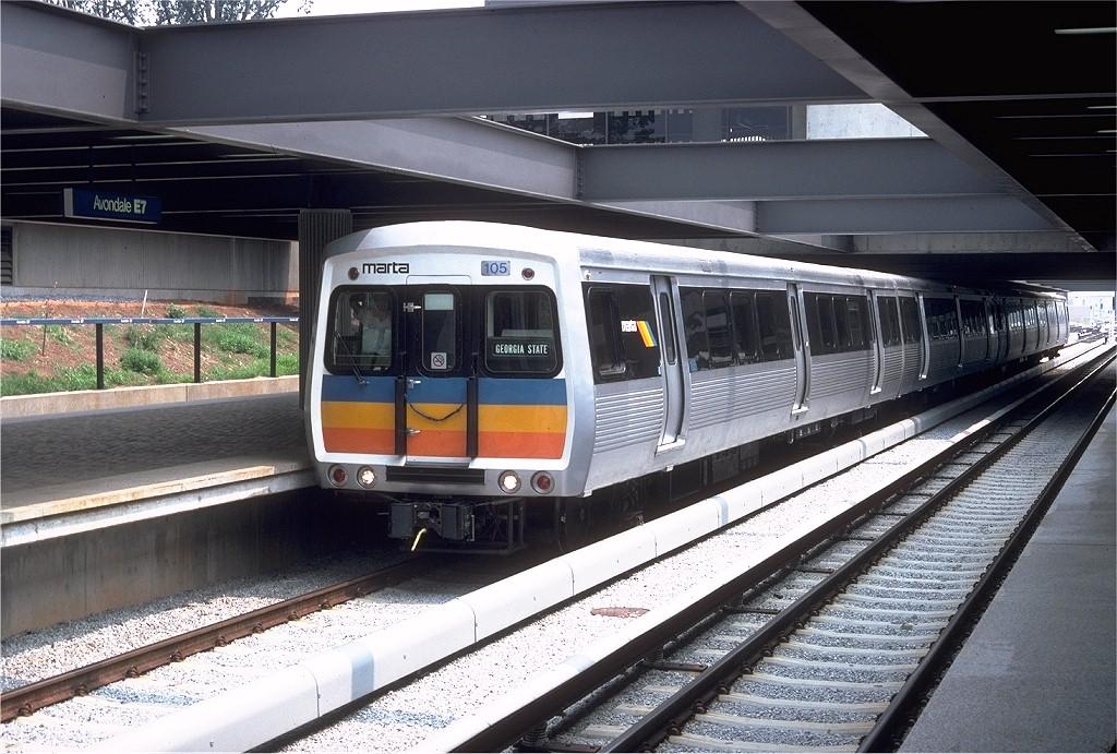 (228k, 1024x691)<br><b>Country:</b> United States<br><b>City:</b> Atlanta, GA<br><b>System:</b> MARTA<br><b>Line:</b> East-West Line <br><b>Location:</b> Avondale <br><b>Car:</b> MARTA CQ310 105 <br><b>Photo by:</b> Doug Grotjahn<br><b>Collection of:</b> Joe Testagrose<br><b>Date:</b> 8/9/1979<br><b>Viewed (this week/total):</b> 0 / 2882