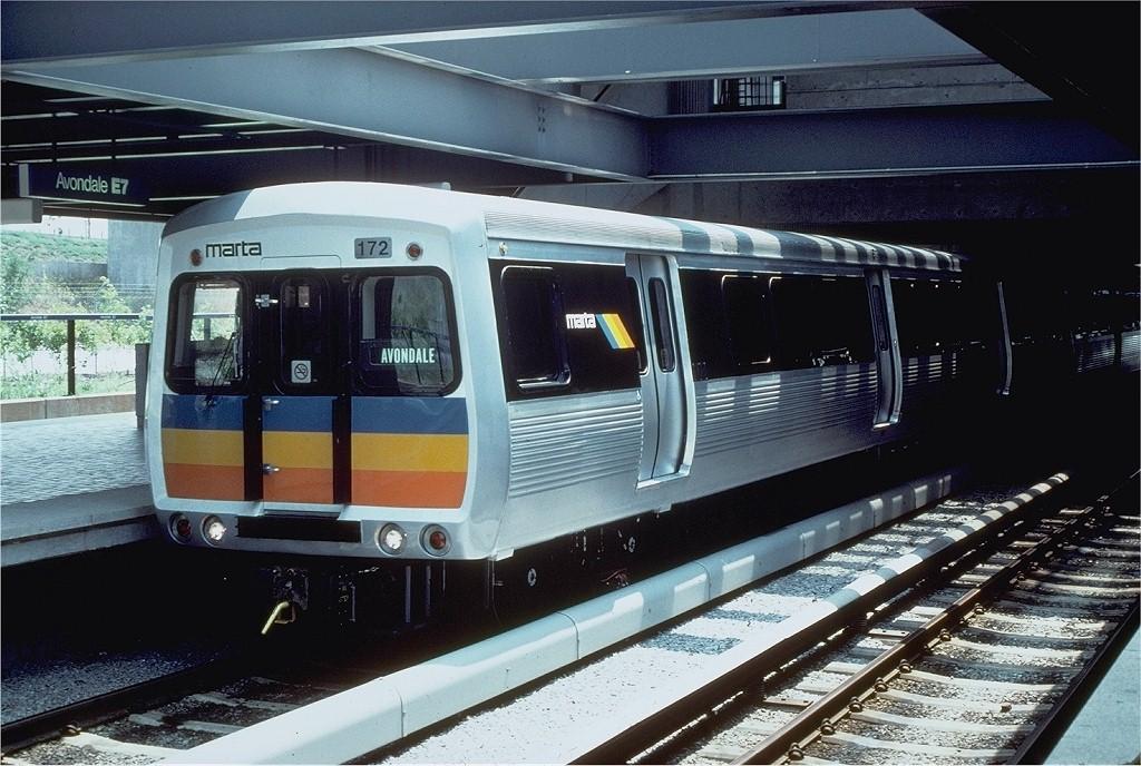 (216k, 1024x688)<br><b>Country:</b> United States<br><b>City:</b> Atlanta, GA<br><b>System:</b> MARTA<br><b>Line:</b> East-West Line <br><b>Location:</b> Avondale <br><b>Car:</b> MARTA CQ310 172 <br><b>Photo by:</b> Doug Grotjahn<br><b>Collection of:</b> Joe Testagrose<br><b>Date:</b> 7/5/1980<br><b>Viewed (this week/total):</b> 2 / 2309
