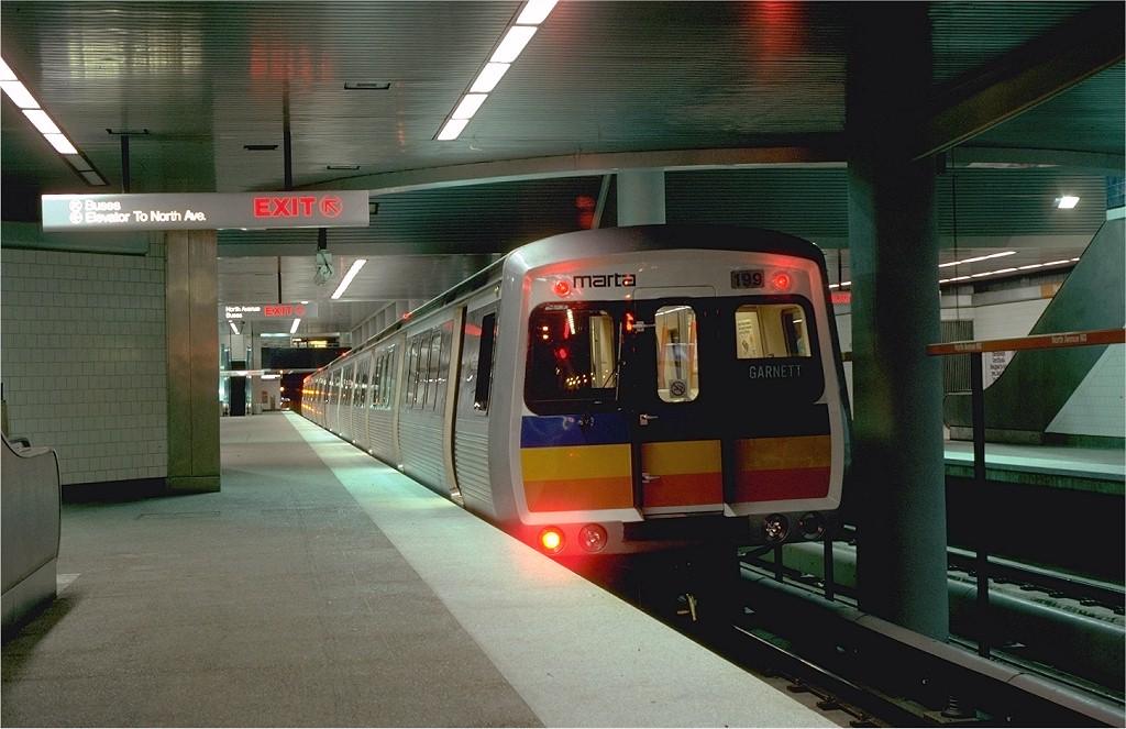 (178k, 1024x663)<br><b>Country:</b> United States<br><b>City:</b> Atlanta, GA<br><b>System:</b> MARTA<br><b>Line:</b> North-South Line <br><b>Location:</b> North Avenue <br><b>Car:</b> MARTA CQ310 199 <br><b>Photo by:</b> Neil Axelrod<br><b>Collection of:</b> Joe Testagrose<br><b>Date:</b> 12/1981<br><b>Viewed (this week/total):</b> 1 / 4038