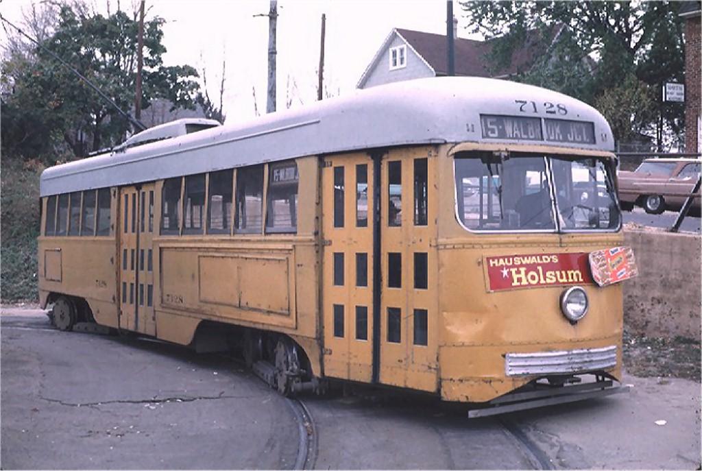 (180k, 1024x687)<br><b>Country:</b> United States<br><b>City:</b> Baltimore, MD<br><b>System:</b> BTC<br><b>Location:</b> Overlea Loop<br><b>Route:</b> Rt 15<br><b>Car:</b> PCC 7128 <br><b>Photo by:</b> Richard Short<br><b>Collection of:</b> Joe Testagrose<br><b>Date:</b> 11/1963<br><b>Viewed (this week/total):</b> 1 / 1881