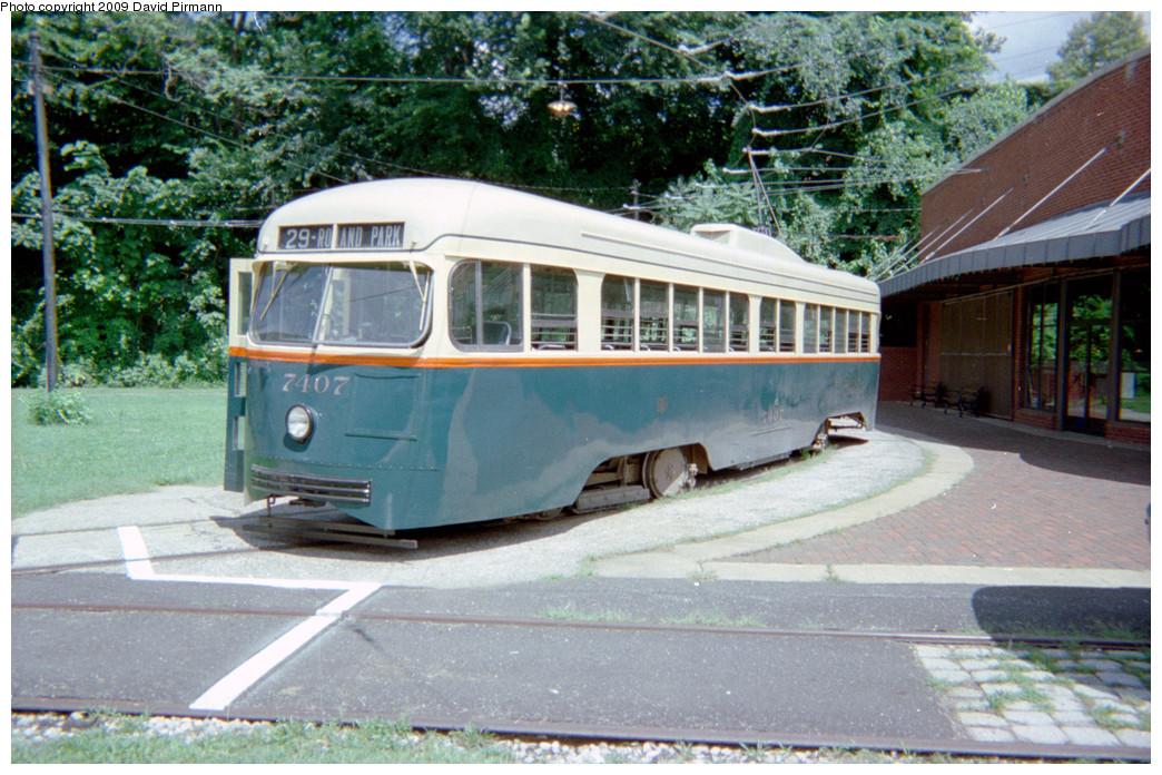 (305k, 1044x696)<br><b>Country:</b> United States<br><b>City:</b> Baltimore, MD<br><b>System:</b> Baltimore Streetcar Museum <br><b>Car:</b> PCC 7407 <br><b>Photo by:</b> David Pirmann<br><b>Date:</b> 8/10/1996<br><b>Notes:</b> BTC PCC 7407 left side<br><b>Viewed (this week/total):</b> 1 / 1945