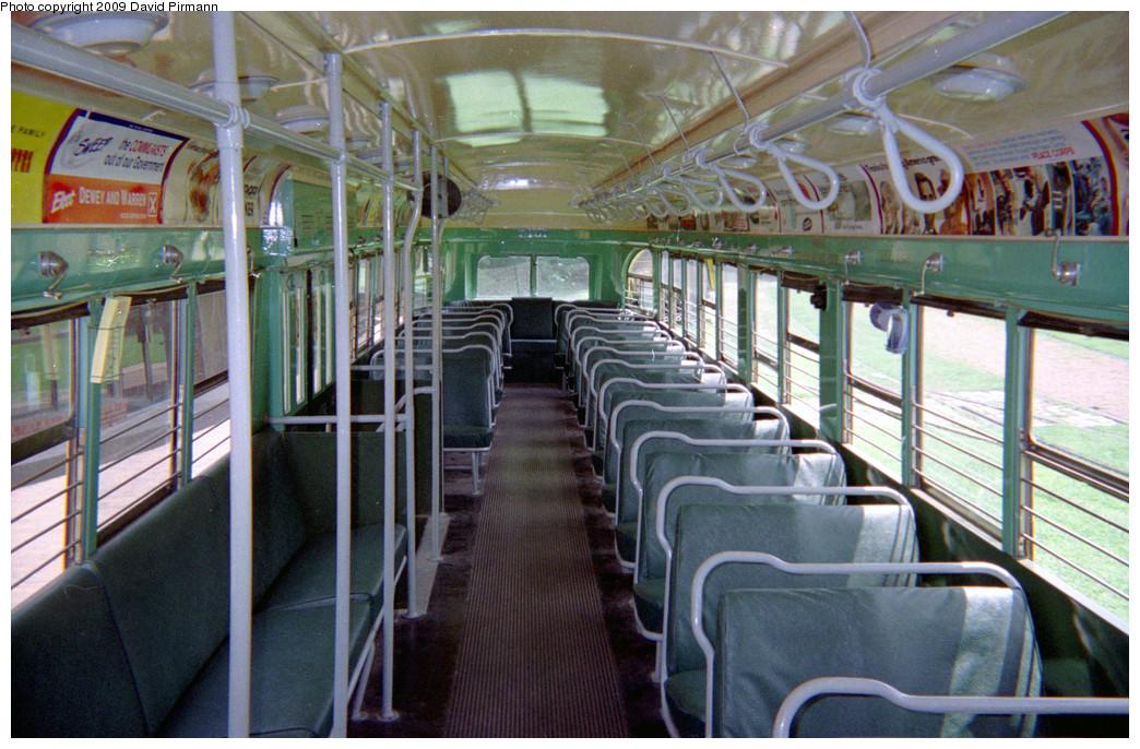 (290k, 1044x686)<br><b>Country:</b> United States<br><b>City:</b> Baltimore, MD<br><b>System:</b> Baltimore Streetcar Museum <br><b>Car:</b> PCC 7407 <br><b>Photo by:</b> David Pirmann<br><b>Date:</b> 8/10/1996<br><b>Notes:</b> BTC PCC 7407 interior<br><b>Viewed (this week/total):</b> 0 / 2058