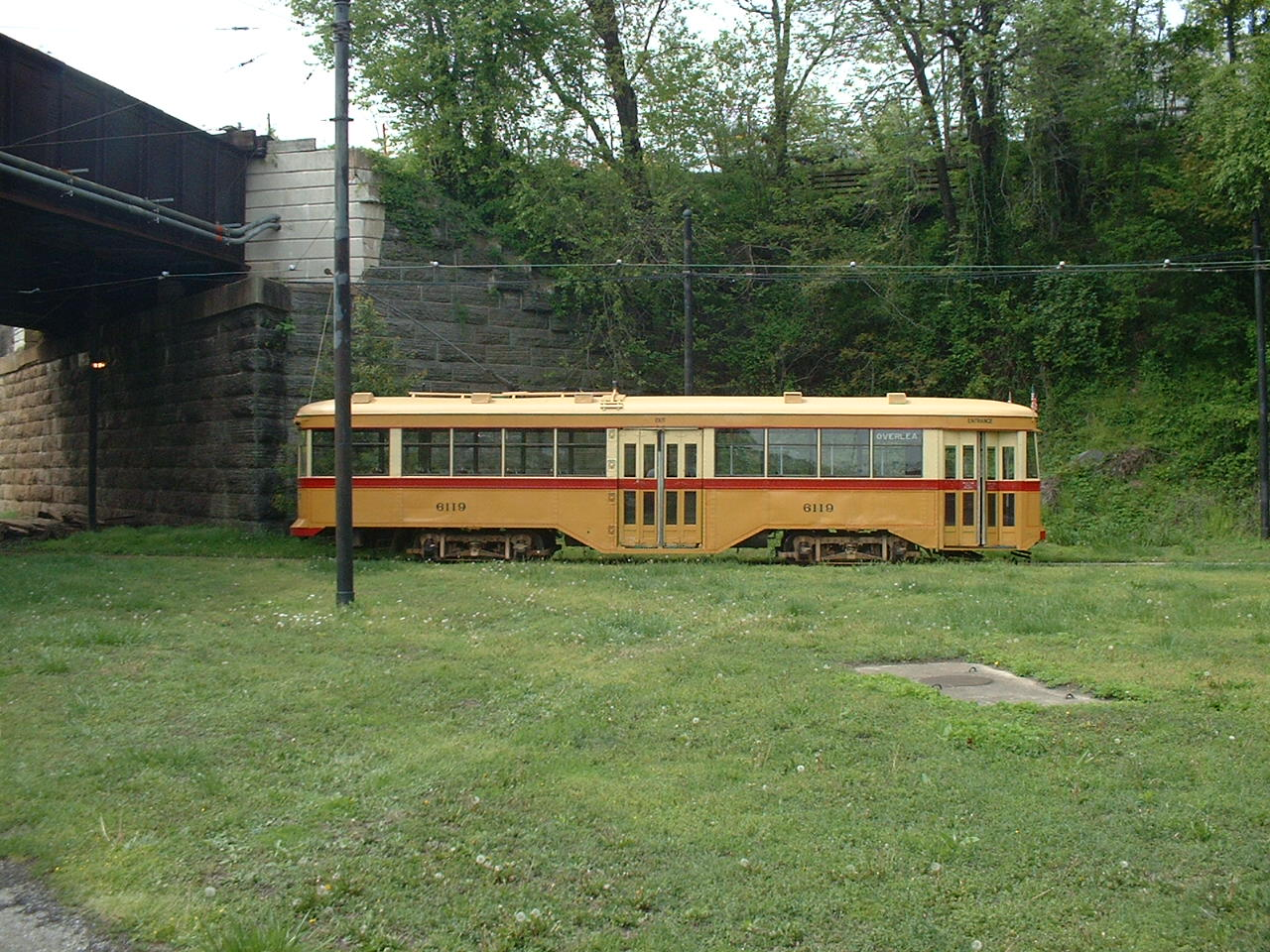 (300k, 1280x960)<br><b>Country:</b> United States<br><b>City:</b> Baltimore, MD<br><b>System:</b> Baltimore Streetcar Museum <br><b>Car:</b>  6119 <br><b>Photo by:</b> Dan Lawrence<br><b>Date:</b> 4/27/2002<br><b>Notes:</b> BSM 6119 at North Avenue Loop<br><b>Viewed (this week/total):</b> 3 / 4270