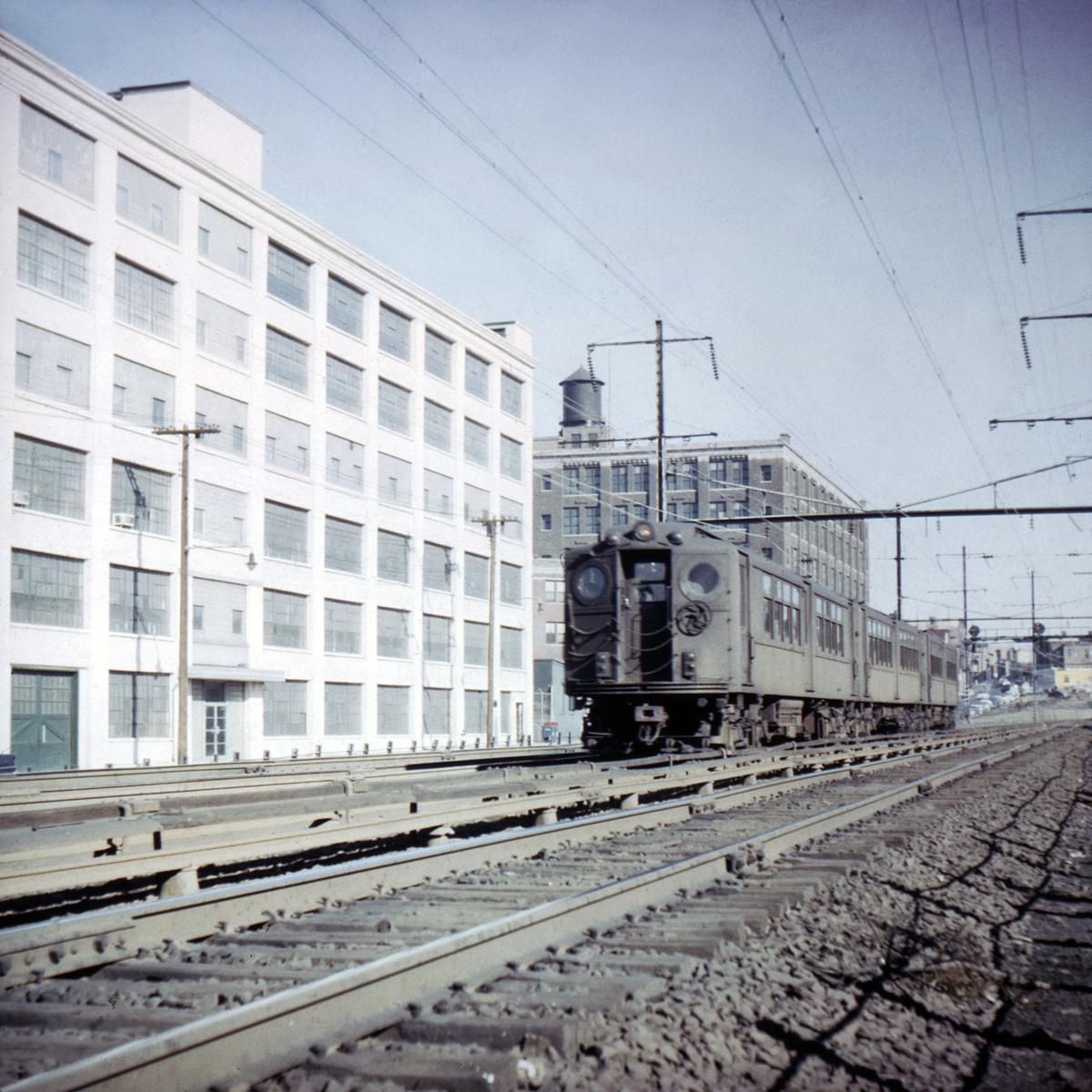 (540k, 1024x683)<br><b>Country:</b> United States<br><b>City:</b> Jersey City, NJ<br><b>System:</b> PATH<br><b>Location:</b> West Side Avenue Grade Crossing <br><b>Car:</b> H&M  <br><b>Collection of:</b> David Pirmann<br><b>Date:</b> 4/1966<br><b>Viewed (this week/total):</b> 1 / 4853