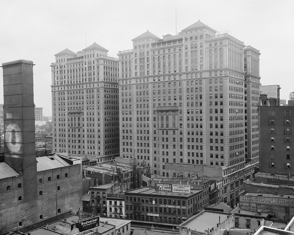 (502k, 1024x819)<br><b>Country:</b> United States<br><b>City:</b> New York<br><b>System:</b> PATH<br><b>Location:</b> Hudson Terminal <br><b>Photo by:</b> Detroit Publishing Co.<br><b>Collection of:</b> Library of Congress, Prints and Photographs Division<br><b>Notes:</b> Hudson Terminal buildings, circa 1920<br><b>Viewed (this week/total):</b> 7 / 6935