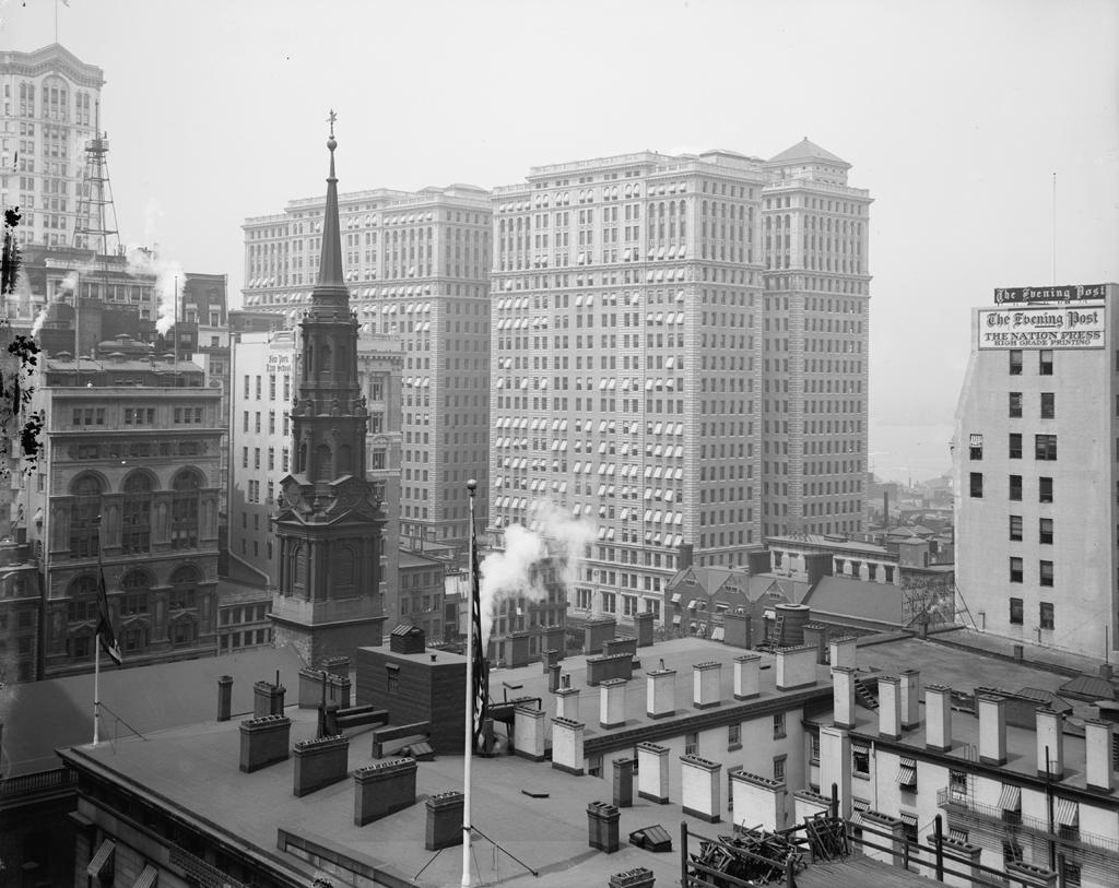 (451k, 1024x813)<br><b>Country:</b> United States<br><b>City:</b> New York<br><b>System:</b> PATH<br><b>Location:</b> Hudson Terminal <br><b>Photo by:</b> Detroit Publishing Co.<br><b>Collection of:</b> Library of Congress, Prints and Photographs Division<br><b>Notes:</b> Hudson Terminal buildings, circa 1920<br><b>Viewed (this week/total):</b> 4 / 6599