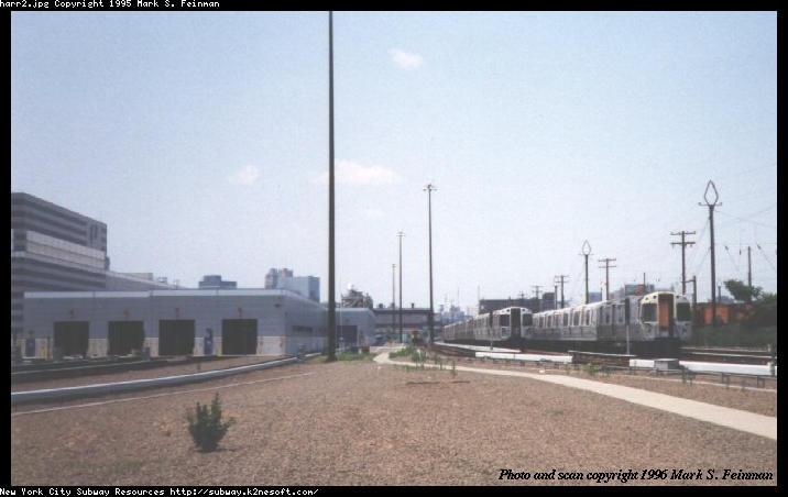 (44k, 716x452)<br><b>Country:</b> United States<br><b>City:</b> Harrison, NJ<br><b>System:</b> PATH<br><b>Location:</b> Harrison Yard/Shop <br><b>Photo by:</b> Mark S. Feinman<br><b>Date:</b> 1996<br><b>Notes:</b> Outside the Harrison maintenance facility and yard<br><b>Viewed (this week/total):</b> 0 / 3576