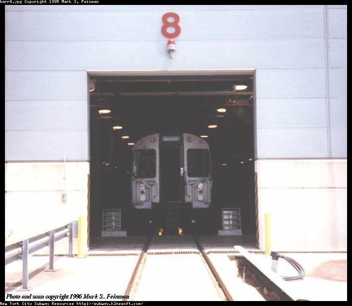 (46k, 711x618)<br><b>Country:</b> United States<br><b>City:</b> Harrison, NJ<br><b>System:</b> PATH<br><b>Location:</b> Harrison Yard/Shop <br><b>Car:</b> PATH PA  <br><b>Photo by:</b> Mark S. Feinman<br><b>Date:</b> 1996<br><b>Notes:</b> Entering the maintenance facility at bay #8<br><b>Viewed (this week/total):</b> 0 / 3619