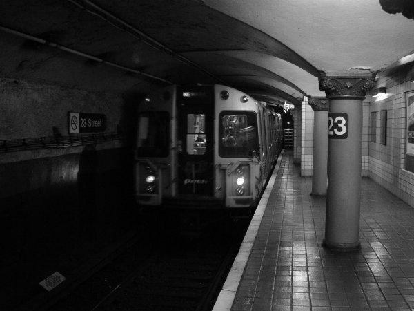 (47k, 600x450)<br><b>Country:</b> United States<br><b>City:</b> New York<br><b>System:</b> PATH<br><b>Location:</b> 23rd Street <br><b>Car:</b> PATH PA-4 (Kawasaki, 1986)  803 <br><b>Photo by:</b> Trevor Logan<br><b>Date:</b> 11/19/2001<br><b>Viewed (this week/total):</b> 0 / 5431