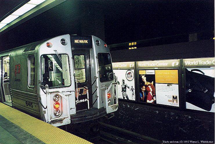 (102k, 741x496)<br><b>Country:</b> United States<br><b>City:</b> New York<br><b>System:</b> PATH<br><b>Location:</b> World Trade Center<br><b>Car:</b> PATH PA-4 (Kawasaki, 1986) 845 <br><b>Photo by:</b> Wayne Whitehorne<br><b>Date:</b> 1998<br><b>Viewed (this week/total):</b> 0 / 9544