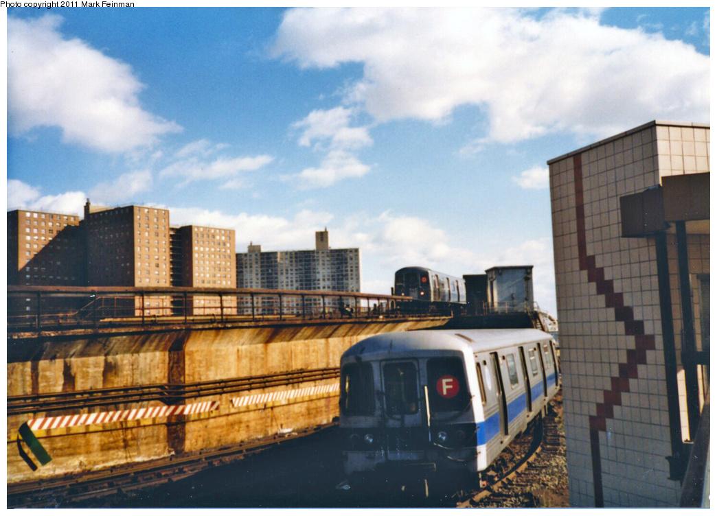 (339k, 1044x752)<br><b>Country:</b> United States<br><b>City:</b> New York<br><b>System:</b> New York City Transit<br><b>Location:</b> Coney Island/Stillwell Avenue<br><b>Route:</b> F<br><b>Car:</b> R-46 (Pullman-Standard, 1974-75)  <br><b>Photo by:</b> Mark S. Feinman<br><b>Date:</b> 11/22/1989<br><b>Viewed (this week/total):</b> 4 / 2080
