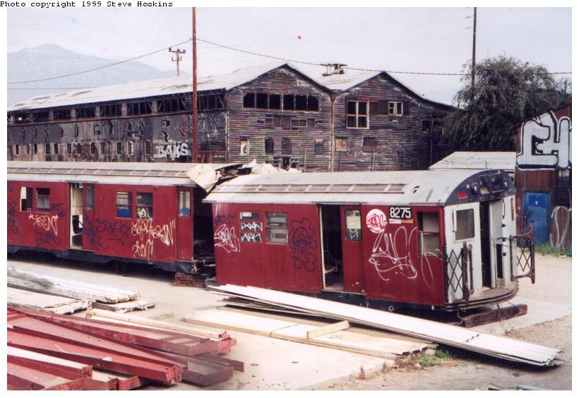 (82k, 820x564)<br><b>Country:</b> United States<br><b>City:</b> New York<br><b>System:</b> New York City Transit<br><b>Location:</b> Movie studio backlot-Los Angeles<br><b>Car:</b> R-30 (St. Louis, 1961) 8275 <br><b>Photo by:</b> Steve Hoskins<br><b>Collection of:</b> David Pirmann<br><b>Date:</b> 12/3/1999<br><b>Viewed (this week/total):</b> 6 / 7306
