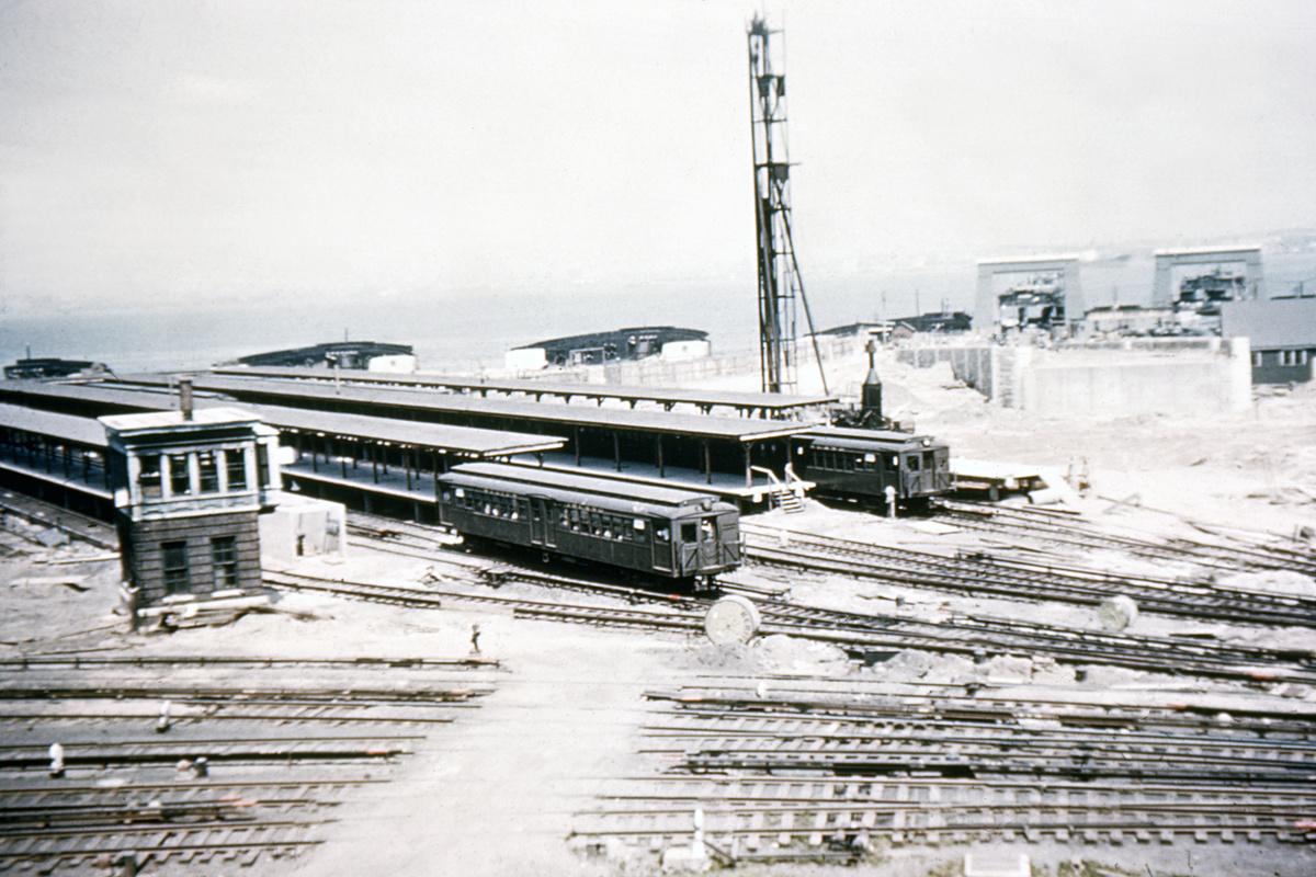 (461k, 1044x754)<br><b>Country:</b> United States<br><b>City:</b> New York<br><b>System:</b> New York City Transit<br><b>Line:</b> SIRT<br><b>Location:</b> St. George <br><b>Car:</b> SIRT ME-1 (Motor)  <br><b>Collection of:</b> David Pirmann<br><b>Notes:</b> Photo taken after fire at St. George in 1946<br><b>Viewed (this week/total):</b> 0 / 8122