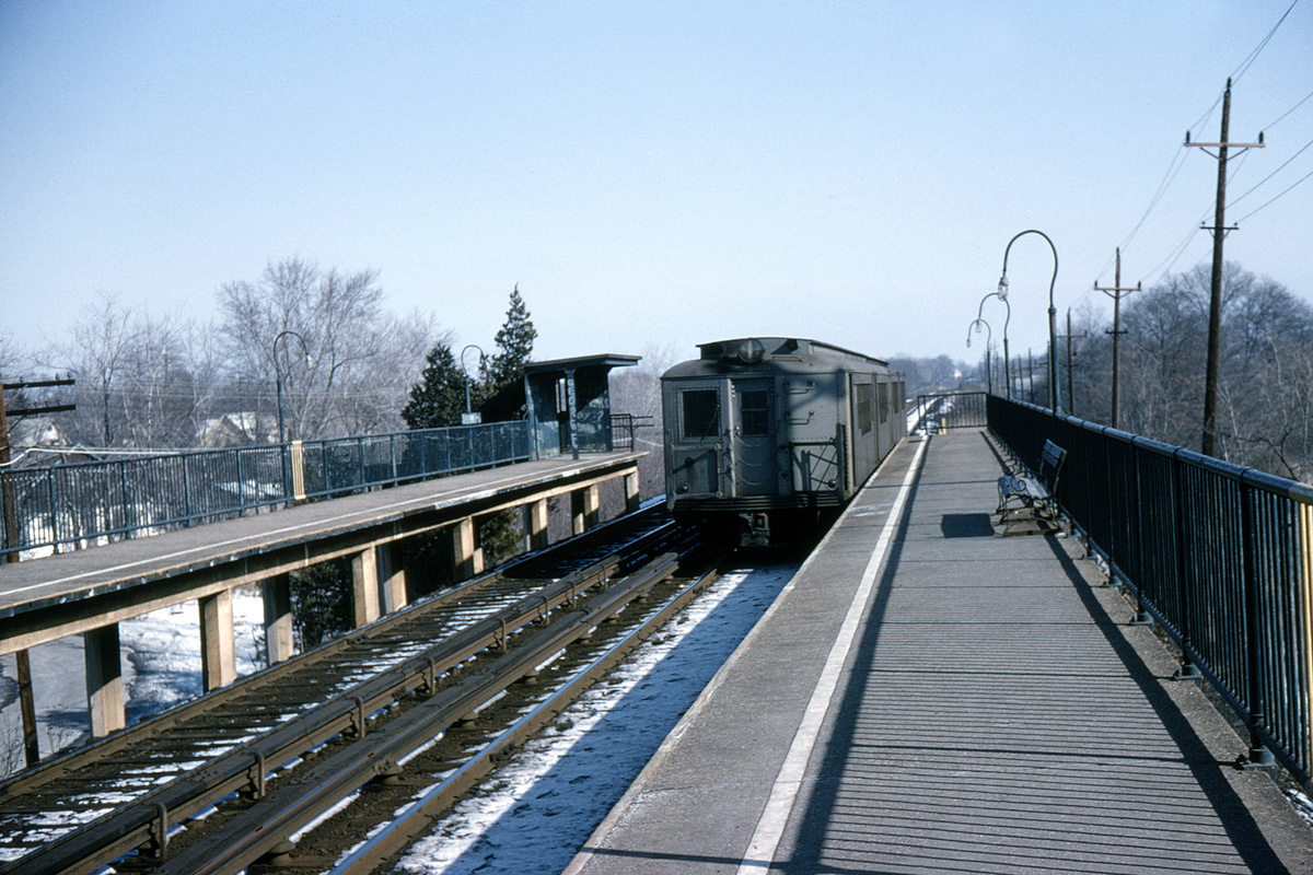 (469k, 1024x683)<br><b>Country:</b> United States<br><b>City:</b> New York<br><b>System:</b> New York City Transit<br><b>Line:</b> SIRT<br><b>Location:</b> Eltingville <br><b>Car:</b> SIRT ME-1 (Motor) 380 <br><b>Collection of:</b> David Pirmann<br><b>Date:</b> 1/31/1965<br><b>Viewed (this week/total):</b> 0 / 5959