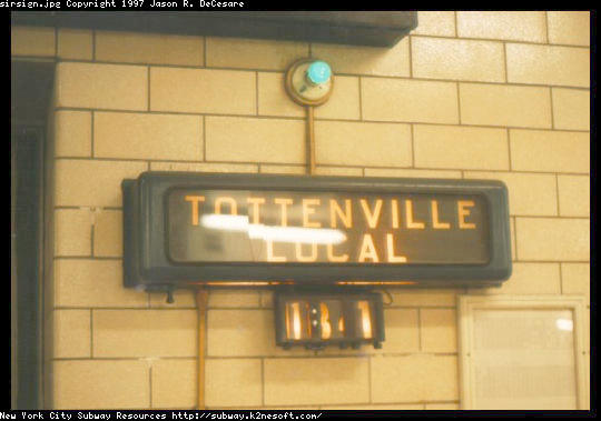 (34k, 540x379)<br><b>Country:</b> United States<br><b>City:</b> New York<br><b>System:</b> New York City Transit<br><b>Line:</b> SIRT<br><b>Location:</b> St. George <br><b>Photo by:</b> Jason R. DeCesare<br><b>Date:</b> 3/1997<br><b>Notes:</b> Destination sign<br><b>Viewed (this week/total):</b> 0 / 4945