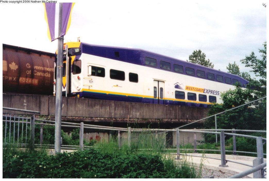 (206k, 1044x704)<br><b>Country:</b> Canada<br><b>City:</b> Vancouver<br><b>System:</b> West Coast Express<br><b>Location:</b> Coquitlam Central <br><b>Car:</b>  101 <br><b>Photo by:</b> Nathan McCartney<br><b>Date:</b> 5/1997<br><b>Viewed (this week/total):</b> 0 / 3535