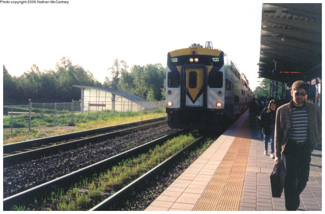 (193k, 1044x690)<br><b>Country:</b> Canada<br><b>City:</b> Vancouver<br><b>System:</b> West Coast Express<br><b>Location:</b> Coquitlam Central <br><b>Car:</b>  103 <br><b>Photo by:</b> Nathan McCartney<br><b>Date:</b> 5/1997<br><b>Viewed (this week/total):</b> 0 / 3338